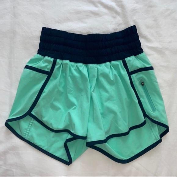 Blue and turquoise lululemon athletic shorts